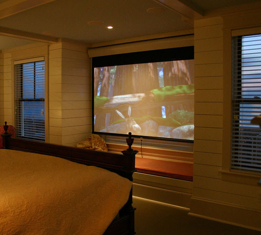 Master Bedroom Design - Window Doubles As Projected TV Screen