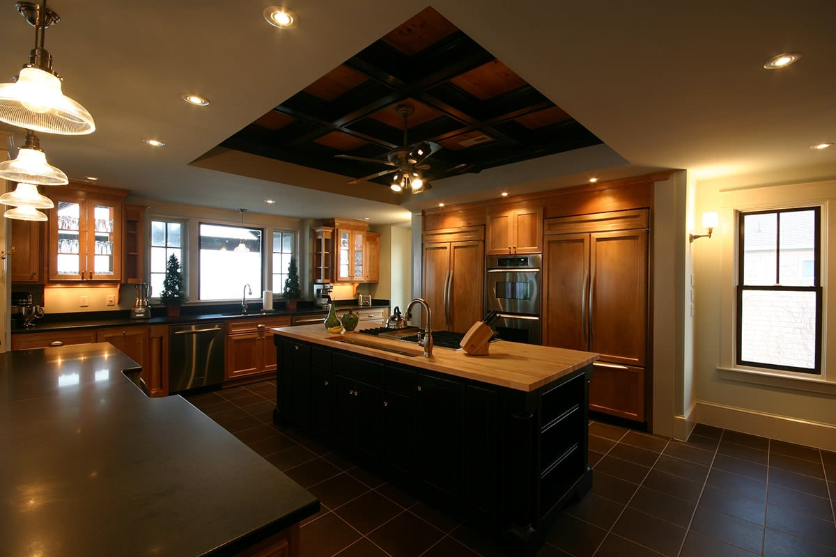 Kitchen Design - Ceiling and Lighting Design - Exposed Elements with Built-in Kitchen Essentials