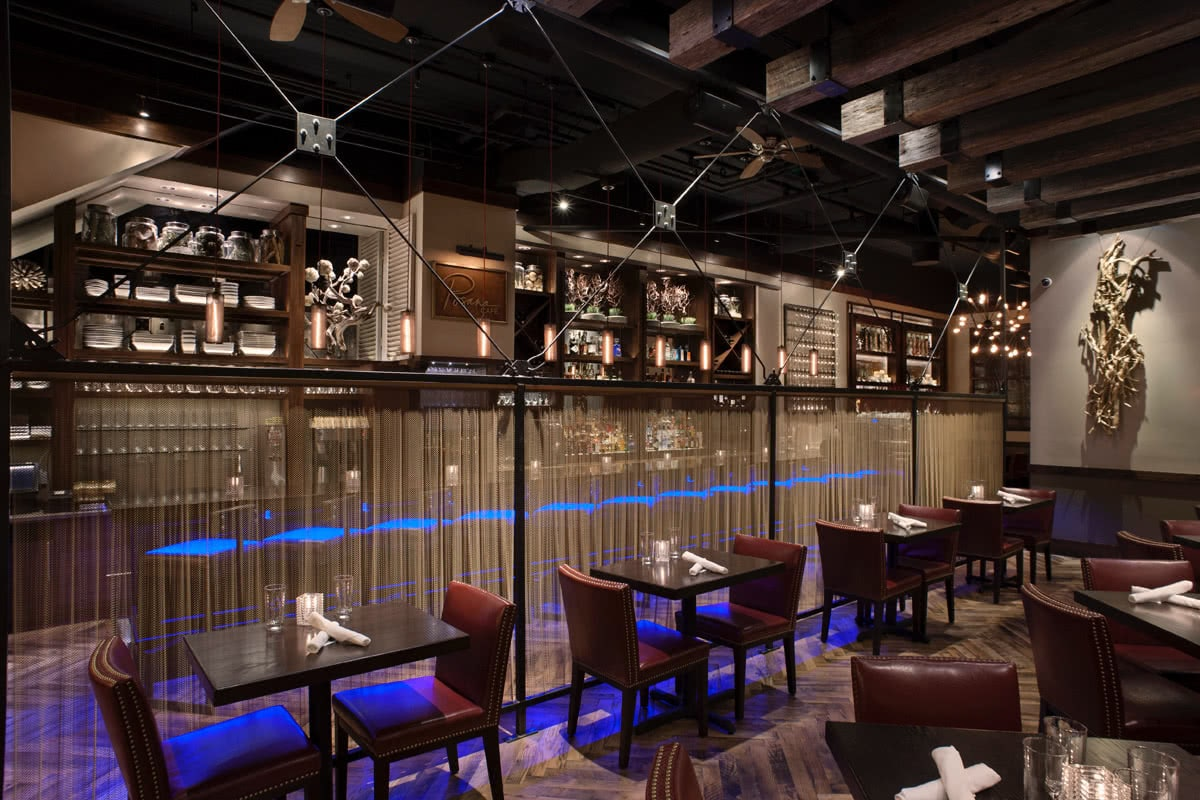 Posana Restaurant Seating Area Ambient Lighting Selection - Interior Design Services
